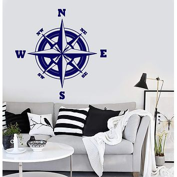 Wall Vinyl Decal Compass Modern Decor Adventure Travel Decor Unique Gift z3898
