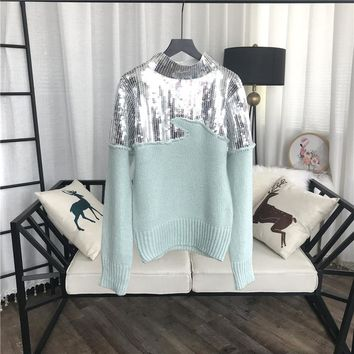 Sequin Teal Sweater