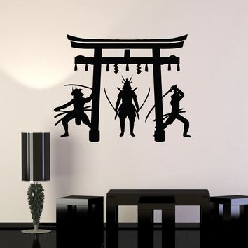 Vinyl Wall Decal Japanese Warriors Samurai Gate Asian Art Decor Stickers Mural (ig5282)