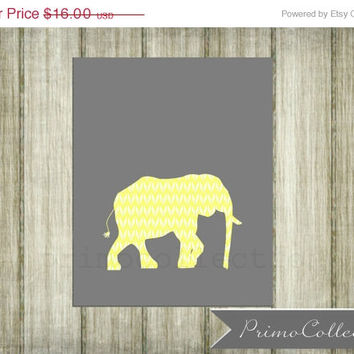 Nursery Print / elephant / 8x10 inch / yellow and gray / wall art / for baby boy room decor / safari / elephant nursery