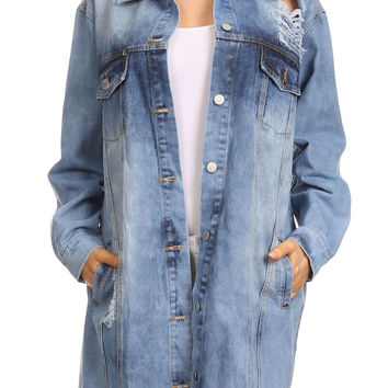 Acid Wash Denim Long Sleeve Long Body Buttoned Jacket JA1616
