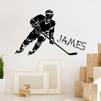 Hockey Wall Decal Boy Personalized Name Decal Hockey Player Vinyl Stickers Sport Art Home Bedroom Decor Interior Design Play Room Decor M797