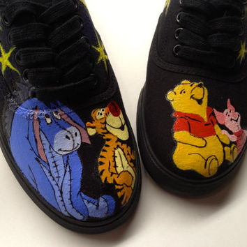 Any Size 5.5-13 Hand Painted Winnie the Pooh Piglet Tigger Eeyore Disney Inspired Galaxy Shoes Womens Custom Keds Vans