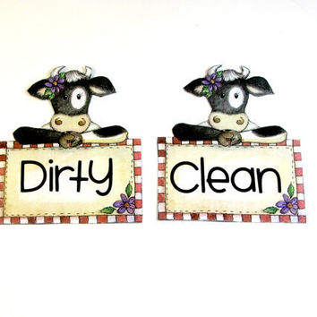 Clean/dirty dishwasher magnet set decoupaged Cow dishwasher magnet set
