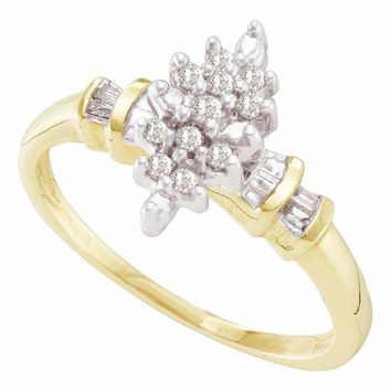 10kt Yellow Gold Women's Round Prong-set Diamond Marquise-shape Cluster Ring 1/6 Cttw - FREE Shipping (US/CAN)