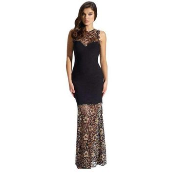 Ladies Maxi Dresses Imported Clothing Vestidos Longos Seamless Mermaid Lace Long Dress Party Evening Lc6880