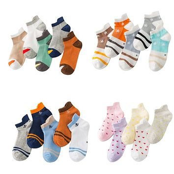5 Pairs Baby Socks Neonatal Summer Mesh Cotton Anchor Star Stripes Kids Girls Boys Children Socks for 3-12 Year