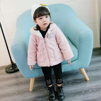 Baby Girl's Outwears Toddler Clothing Chirldren Printed Jacket Rabbit Hooded Infant Warm Coats Fashion Kid Winter Animal Clothes