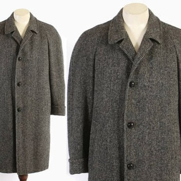 Vintage 50s OVERCOAT / 1950s Men's HARRIS TWEED Black & Gray Wool British Winter Coat L