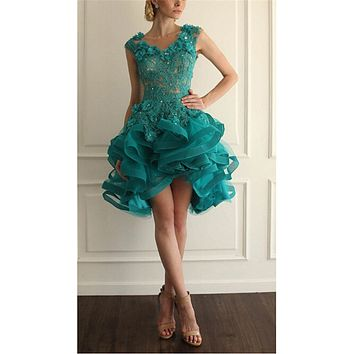 Robe De Kokteyl Dress Custom Made Green Appliques Beading Crystal Ruffles Lace Short Cocktail Dresses Formal Evening Party Dress