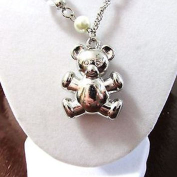 Necklace pendant charm silver tone fashion jewelery 19'' ''bear''