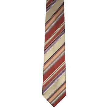 Geoffrey Beene Designer Striped Wide Silk Tie - Warm Multicolor