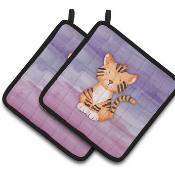 Tiger Cub Watercolor Pair of Pot Holders BB7444PTHD