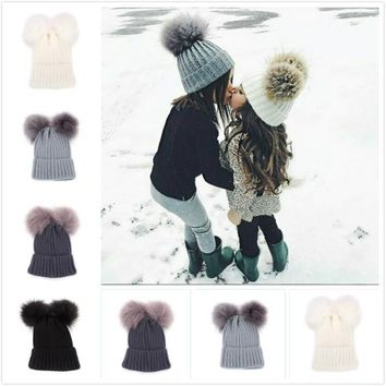 New Winter Children Cute Knitted Woolen Hat Fashion Double Ball Lovely Mickey Hat Thicken Keep Warm Knitted Ski Fur Cap