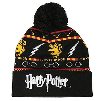 Harry Potter Fair Isle Gryffindor Logo Knit Cuff Pom Beanie