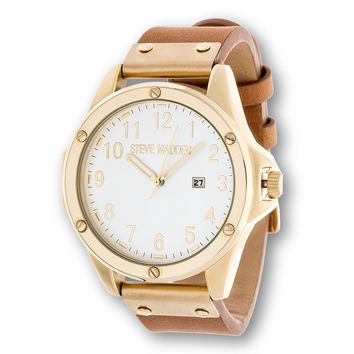 Steve Madden Men's Luxury Fashion Analog Gold Color Case Stainless Steel Watc...