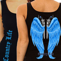 Country Life Outfitters Black & Blue Wings Guns Vintage Girlie Fitted Bright Tank Top Shirt