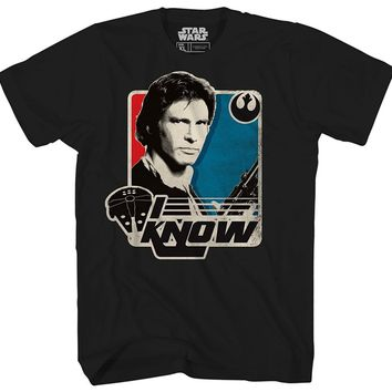 Star Wars Force Episode 1 2 3 4 5  Han Solo I Know Princess Leia Millennium Falcon Retro Vintage Classic Funny T Shirt Pun Mens Adult Graphic Tee T-Shirt AT_72_6