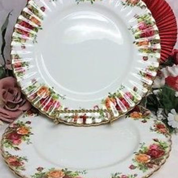 Royal Albert China Dinnerware England Old country roses 2 Luncheon Plate Origina