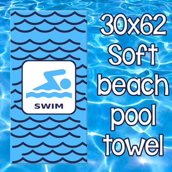Personalized Beach Pool Towel Monogram Summer SWIMMER Swim Team Boys or Girls travel vacation Large 30 x 62