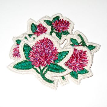 Hand Embroidered Red Clover Patch