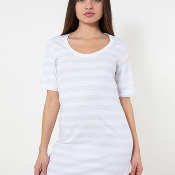 rsa2314st - Fine Jersey Stripe Short Sleeve Crew Neck T-Shirt Dress
