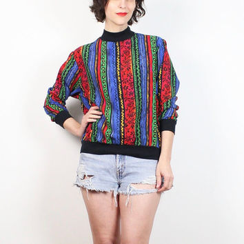 Vintage 80s Rainbow Striped Tshirt Red Blue Green Abstract New Wave Mod Slouchy T Shirt 1980s Surfer Tee Mod Skater Top S Small M Medium