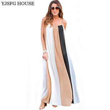 YJSFG HOUSE Casual Vintage Women Sleeveless Boho Beach Dress 2017 Summer Loose Sexy Female Long Maxi Striped Patchwork Dress