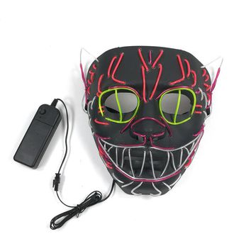 EL Line Cover Flashing Role Playing LED Mask Shining Cat Mask Costume Anonymous Shining Dance Carnival Party Halloween Mask