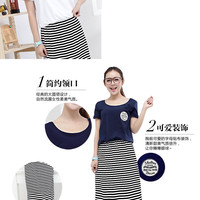 Sweet Circle Logo Badge Short Sleeves Striped Pattern Tunic Long Dress 3 Colors