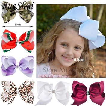 522fe6dd2c5 8 Inch Big Large Girls Hair Bow Clips Rhinestone Grosgrain Ribbo
