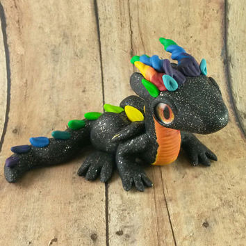 Rainbow Dragon Fingurine, Polymer Clay Dragon, Dragon Sculpture, Dragon Figure, Rainbow Dragon Figure, Black Dragon, Colorful Dragon