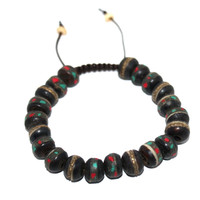 Full Black Yak bone Adjustable wrist mala