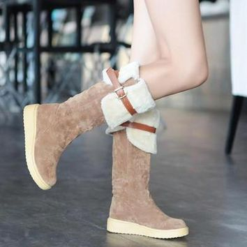 Winter Students Boots Rubber Soled Martin Boots Suede Women Long Warm Boots (For Choos