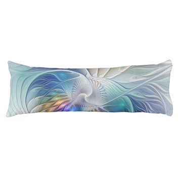 Floral Fantasy, Colorful Abstract Fractal Flower Body Pillow