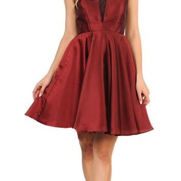 V-Neck and Back Homecoming Short Dress with Pockets Burgundy