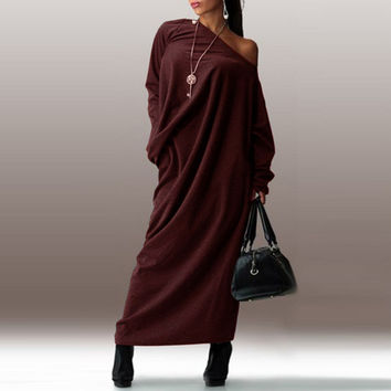 Preself Fall and Spring Casual Loose Maxi Off-Shoulder Wrap Dress Vestidos with Long Sleeve Plus Size No Package