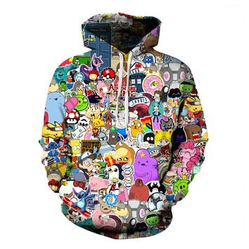 hot sale Burst models Anime Hoodies Pokemon/Adventure Time 3D Digital printing fashion casual Unisex Loose Hoody pullover