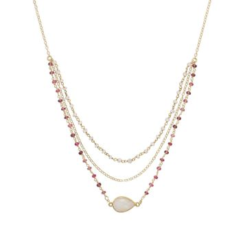 """16"""" + 2"""" Gold Filled Rainbow Moonstone and Tourmaline Necklace"""