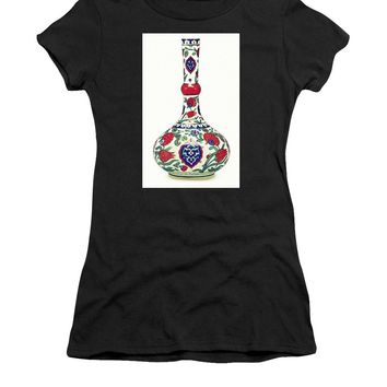 An Ottoman Iznik Style Floral Design Pottery Polychrome, By Adam Asar, No 5a - Women's T-Shirt (Athletic Fit)