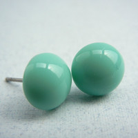 Stud Earrings - Robin's Egg Blue Earrings - Simple Studs