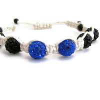 Shamballa bracelet, black blue and white, braided macrame bracelet, adjustable