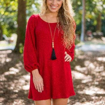Caught Your Eye Sweater Dress, Red