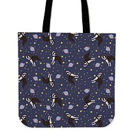 Space Boston Terrier Linen Tote Bag