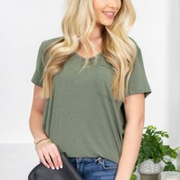 Brittany Striped Pocket Tee |  Green