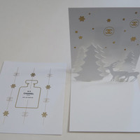 Set of 2 CHANEL Christmas Cards 3D X'mas Mini Card + No.5 Mini Perfume Card / Holiday / Birthday / Greeting / Party / Gift / Invitation Card