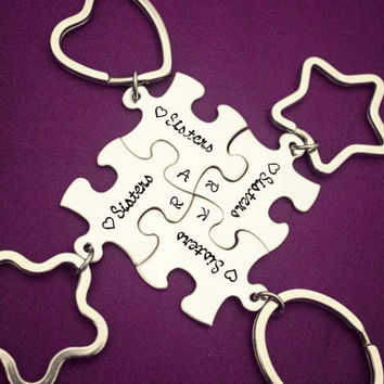 Sisters - Hand Stamped Stainless Steel Keychain Set - Interlocking Puzzle Pieces - Personalized with Initials