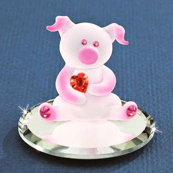 Glass Baron Lovable Pig with Heart and Mirror Base Figurine