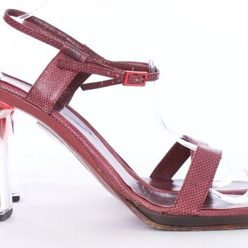 GUCCI Karung Burgundy Lucite Ombre Heel Ankle Strap Shoes Size 11
