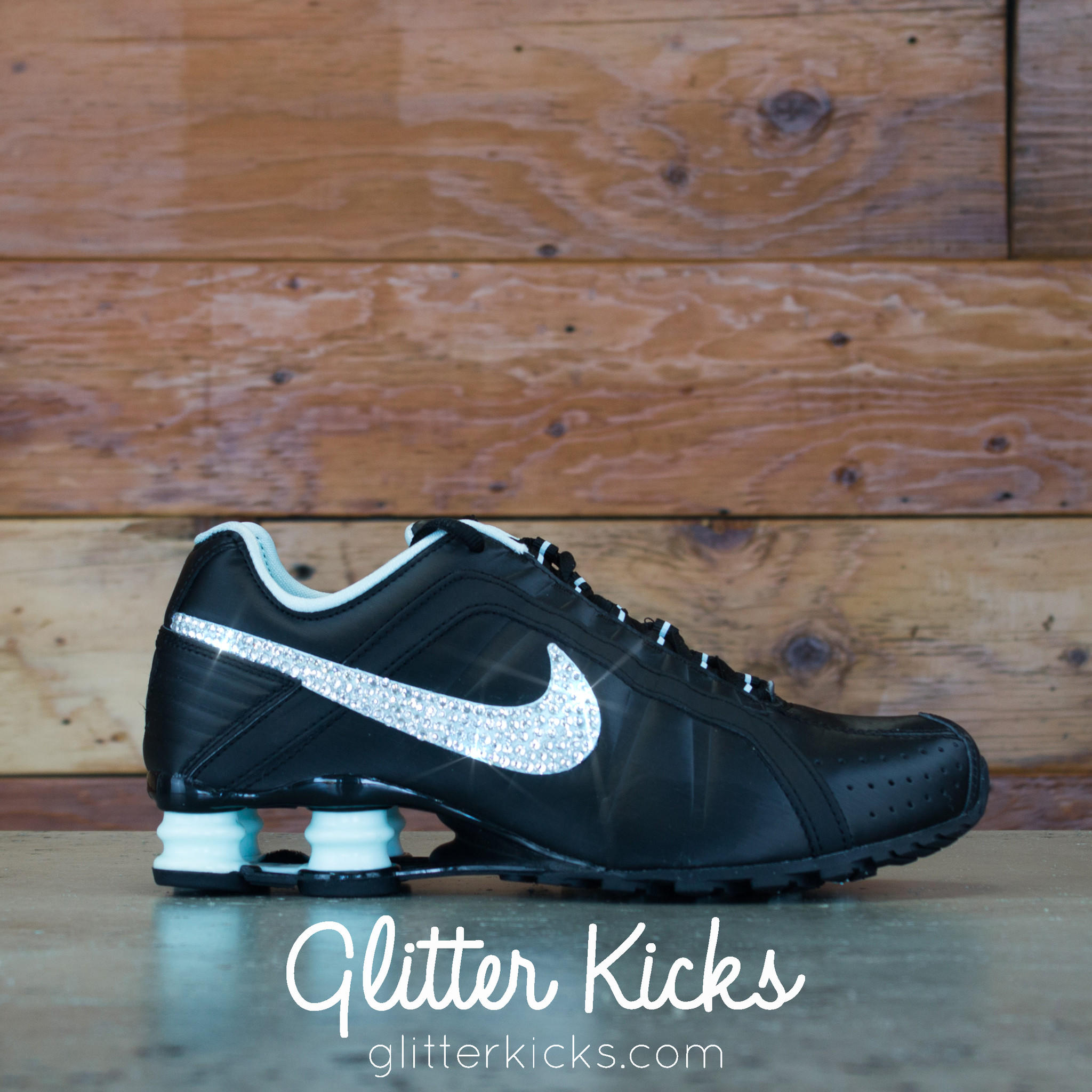 Nike Shox Current Glitter Kicks Running Shoes Black Tiffany 2fb64558a4